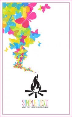 Abstract illustration of fire and butterflies instead of a smoke