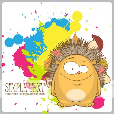 Cartoon hedgehog on a withe background with blots.