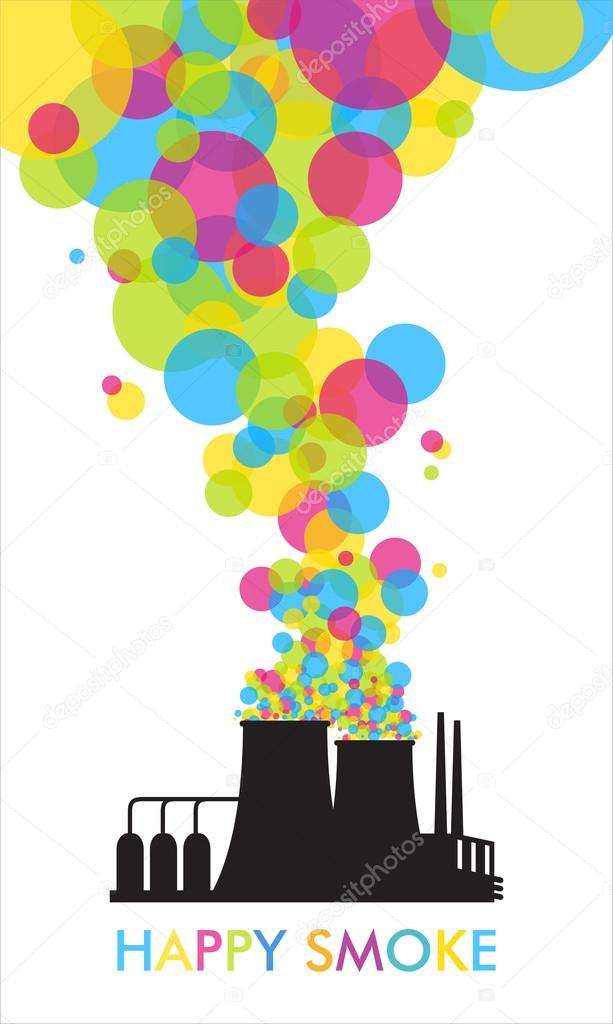 Abstract illustration of factory with balloons.