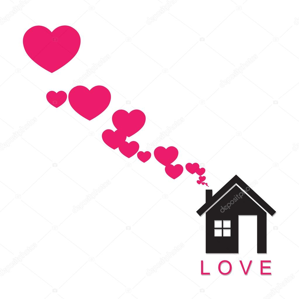 House and hearts instead of smoke rising from the chimney