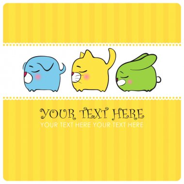 Greeting card with funny sleeping animals. Vector illustration. Place for your text.