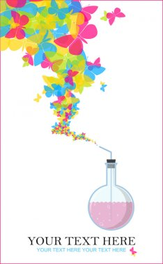 Abstract vector illustration of flask and butterflies. Place for your text.