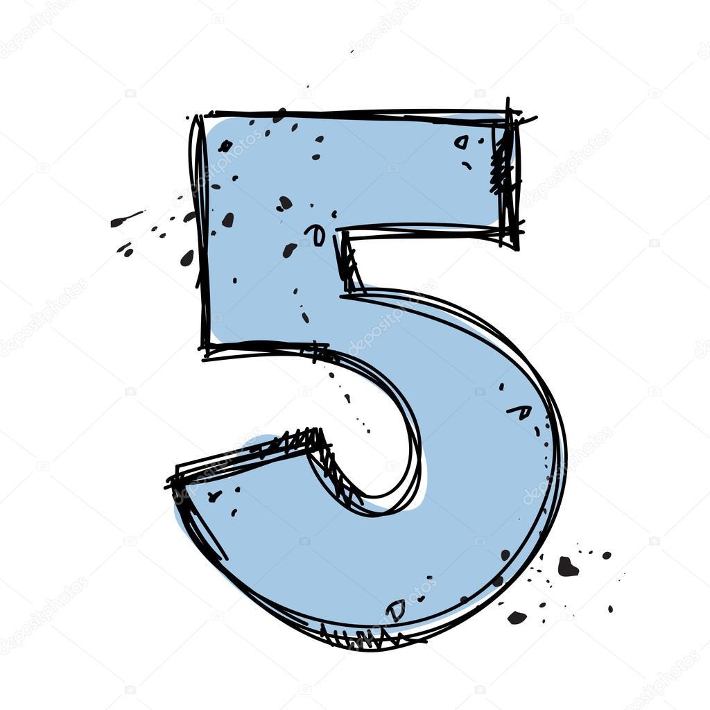 número 5 en el estilo de dibujo ilustración vectorial archivo