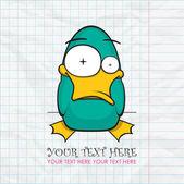Fotografie lustige Ente auf einem Papier-Hintergrund. Vektor-Illustration. Platz für Ihren text