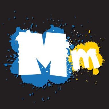 Dirty letter M. Vector illustration