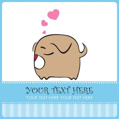 Nice sleeping doggy with hearts. Vector illustration. Place for your text.