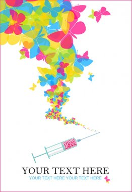 Syringe with butterflies. Vector illustration