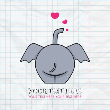 Funny elephant and hearts on a paper-background. Vector illustration. Place for your text.