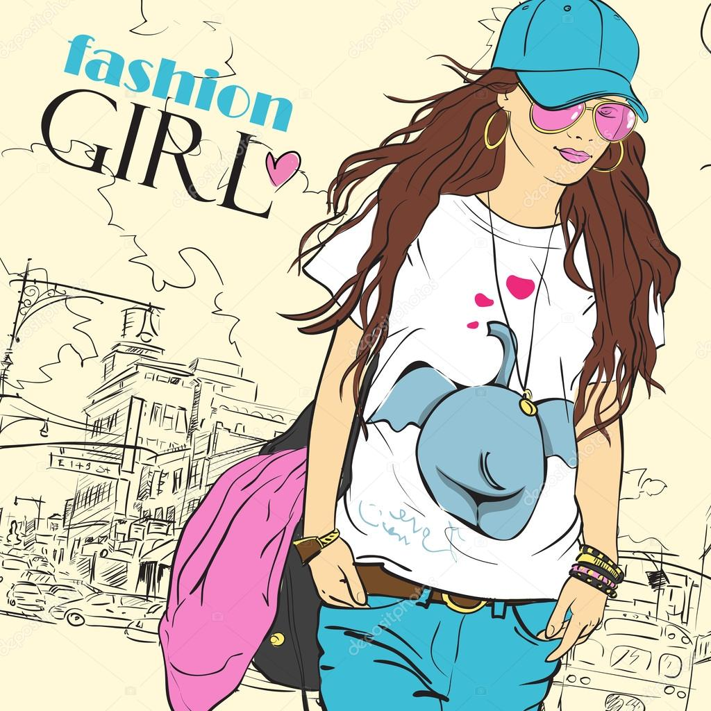Sexy fashion girl in sketch style on a city-background. Place for your text.