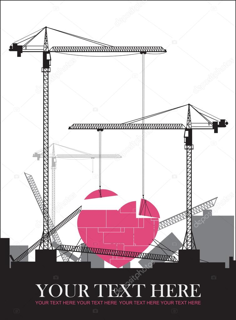 Abstract vector illustration with cranes and heart. Place for your text.