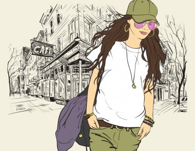 Sexy fashion girl in sketch style on a street-cafe background. Vector illustrator.
