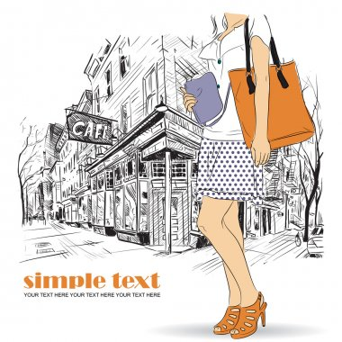 Sexy fashion girl in sketch style on a street-cafe background. Vector illustrator. clip art vector