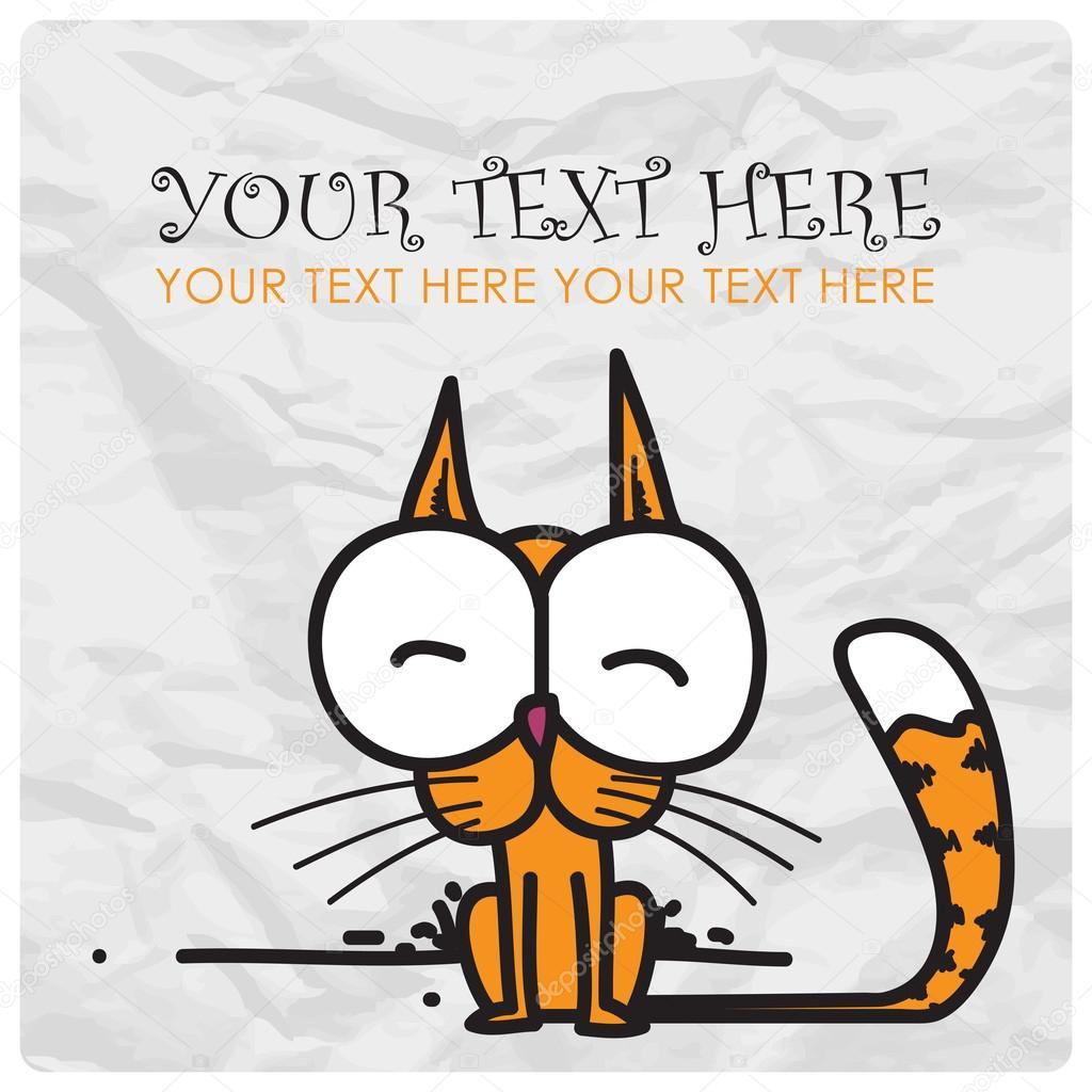 Funny cartoon kitty. Vector illustration.