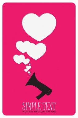 Megaphone and hearts.