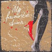 Fényképek Vintage vektoros illusztráció egy szexi lány piros divat cipő
