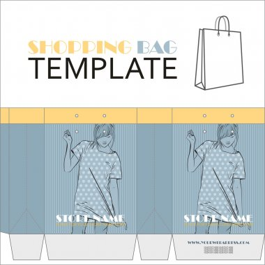 Template for paper shopping bag with girl character. Place for your info.