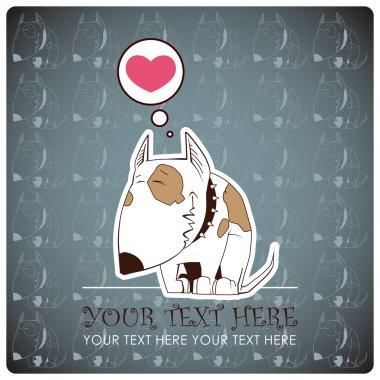 Animal greeting card with funny cartoon dog.