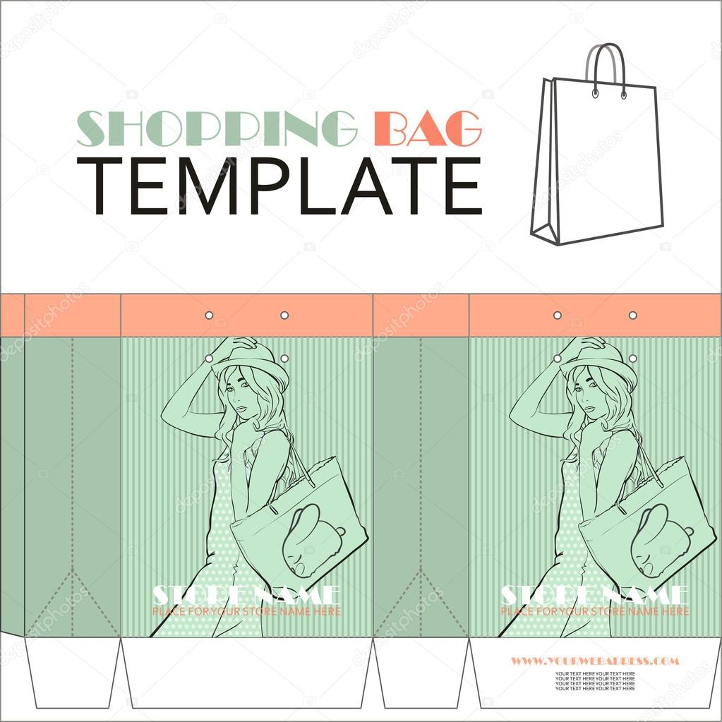 template for paper shopping bag with girl character place for your