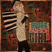 dívka v náčrtu stylu na sportovní zázemí. vektorové ilustrace