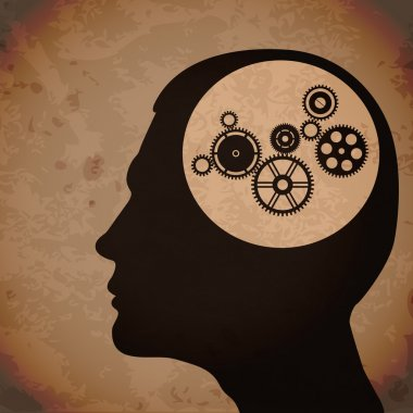 Cogs or gears in human head. Grunge vector illustration