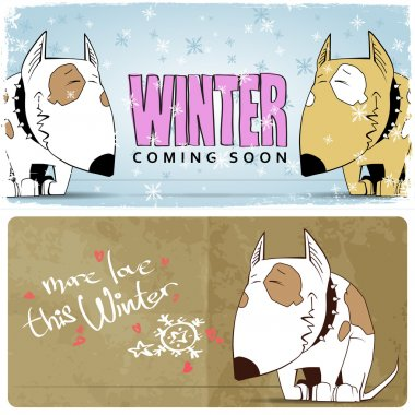 Winter vector card with funny cartoon dog and text.