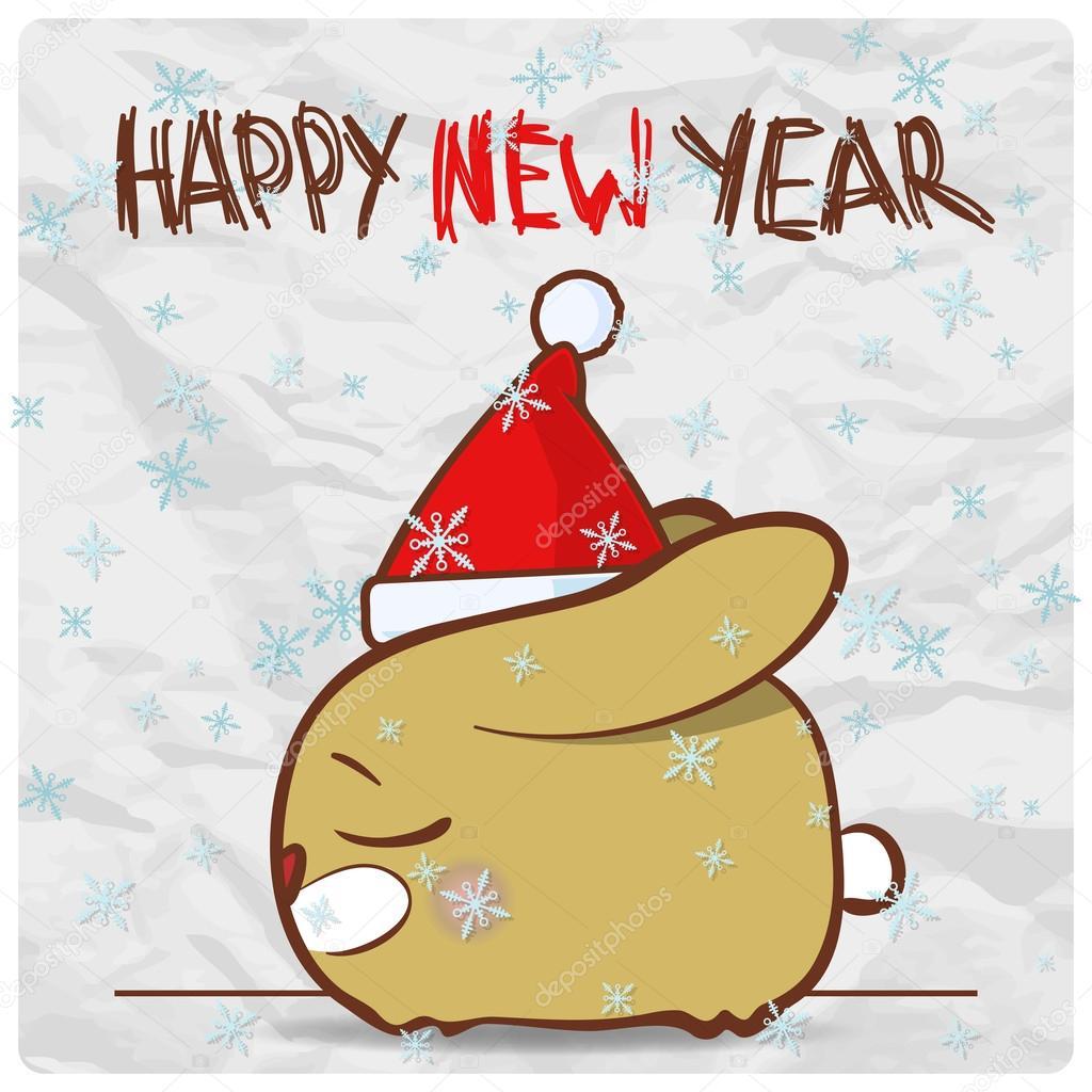 gratulationskort julkort gratulationskort julkort med rolig kanin karaktär. vektor  gratulationskort julkort