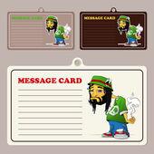 Satz von Vektor-Nachrichtenkarten mit Cartoon Rasta Charakter.