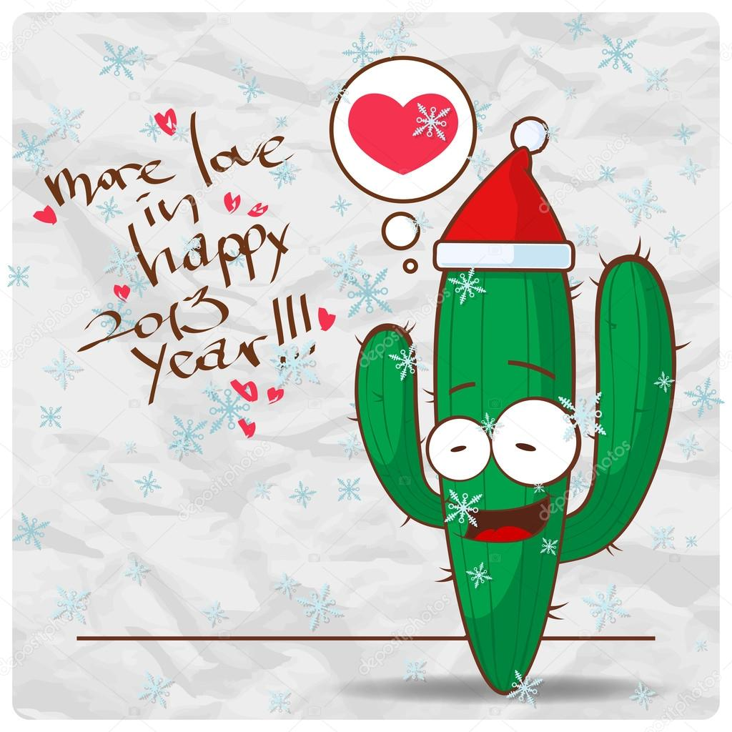 Greeting Christmas Card With Funny Cactus Character Vector