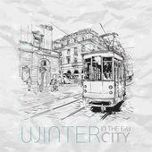 Fotografie Winter in the city. Vector illustration.