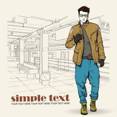 Stylish young guy at subway station. Vector illustration