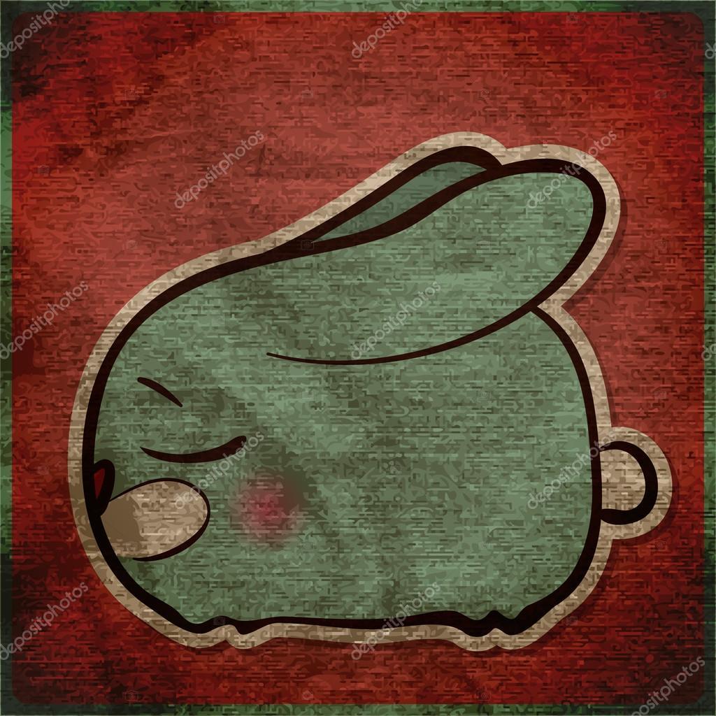 Scheda animale grunge con coniglio cartone animato