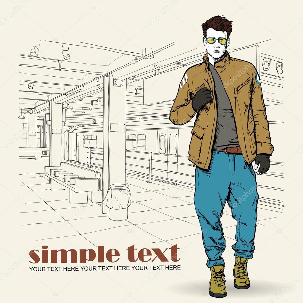 地下鉄の駅でスタイリッシュな若い男ベクトル イラスト ストック