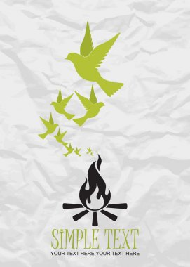 Abstract vector illustration of fire and birds.