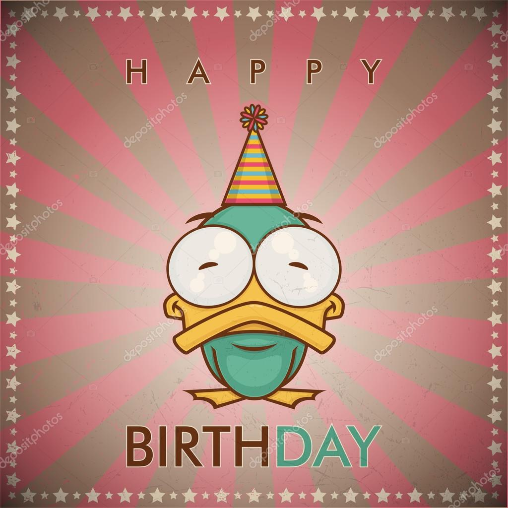Super carte de voeux de joyeux anniversaire avec le canard de dessin  BG54