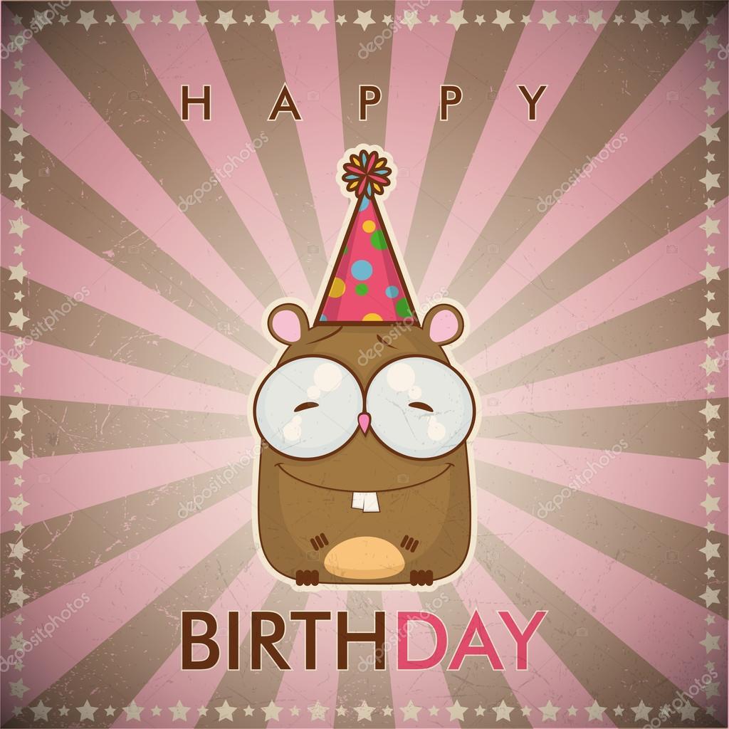 Gelukkige Verjaardag Wenskaart Met Grappige Cartoon Hamster