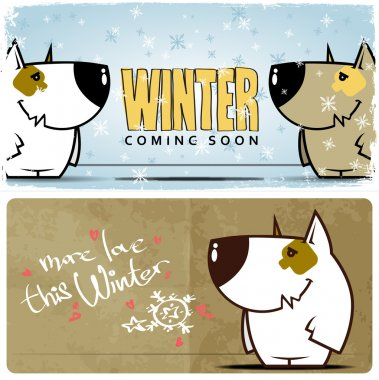Winter card with cartoon dog