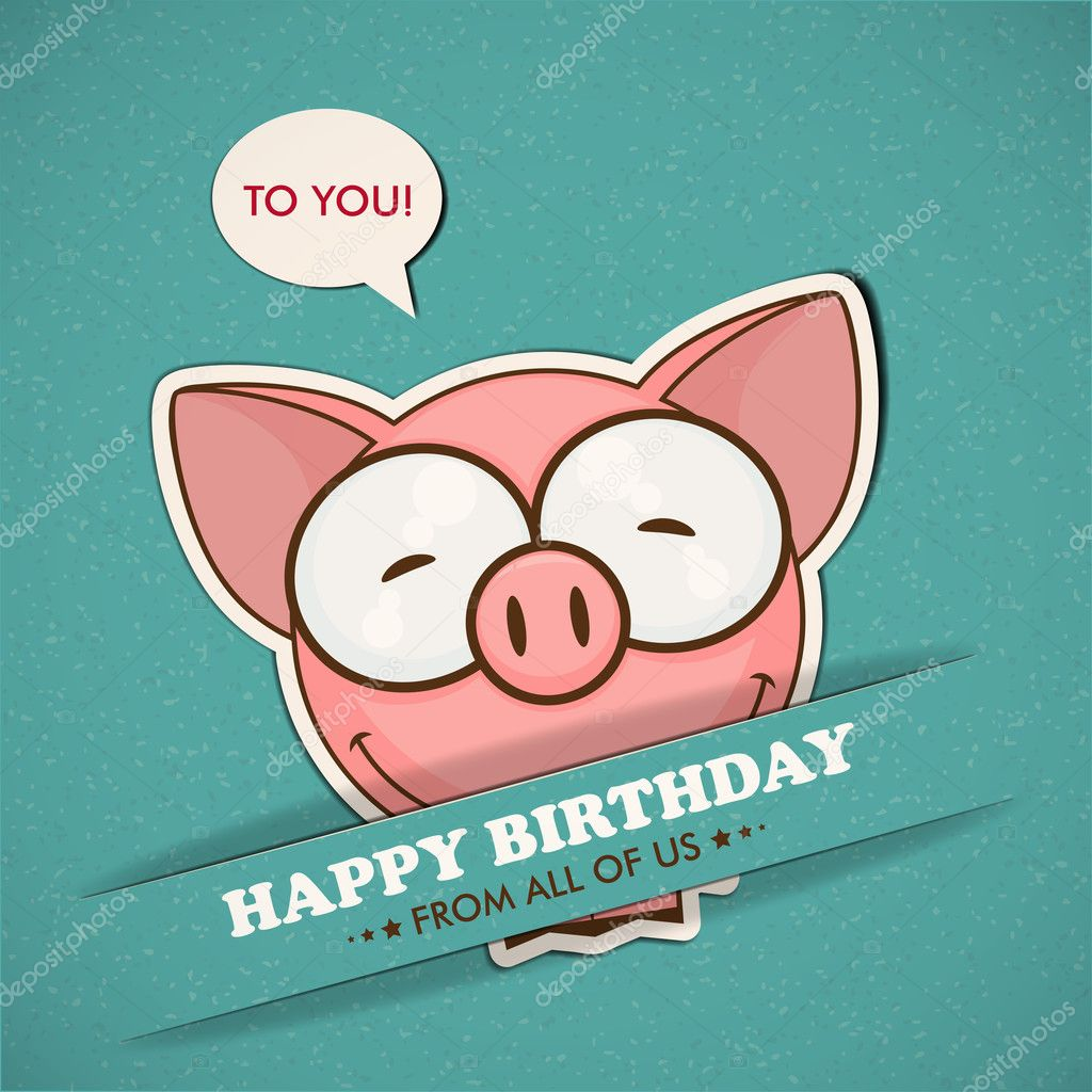 Happy birthday greeting card with pig stock vector rliono happy birthday greeting card with pig stock vector kristyandbryce Gallery