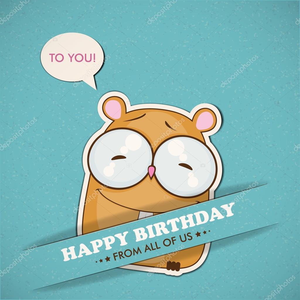Gelukkige Verjaardag Wenskaart Met Hamster Stockvector C R Lion O