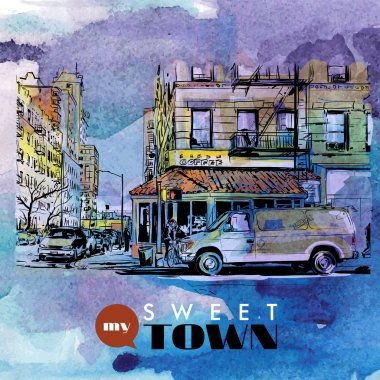 Hand drawn watercolor background with illustration of cityscape in sketch style