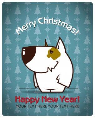Christmas greeting card with cartoon doggy