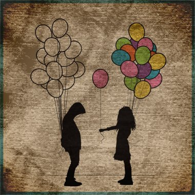 Vintage background with Boy and girl with balloons