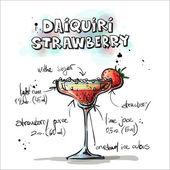 handgezeichnete Illustration des Cocktails. daiquiri-Erdbeere