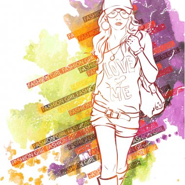 Watercolor background with illustration of pretty girl in sketch style
