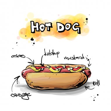 Cool tasty hot dog. Sketch and watercolor style. Vector illustration. clip art vector