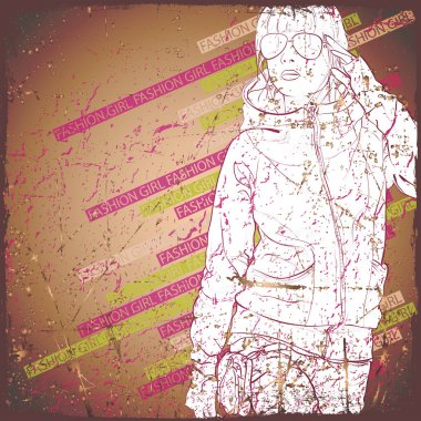 Lovely young girl in sketch-style on a grunge background