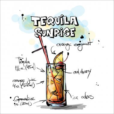 Hand drawn illustration of cocktail. TEQUILA SUNRISE