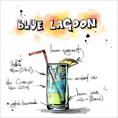 Hand drawn illustration of cocktail. BLUE LAGOON
