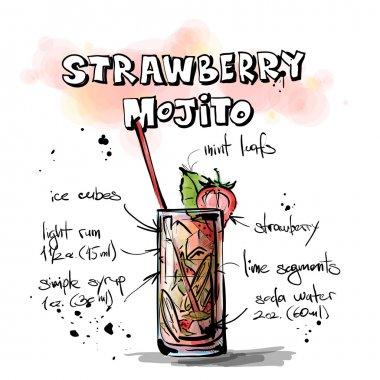Hand drawn illustration of cocktail. STRAWBERRY MOJITO