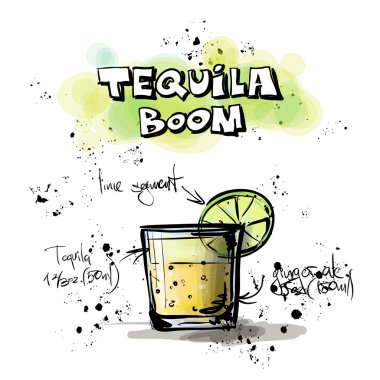 Hand drawn illustration of cocktail. TEQUILA BOOM