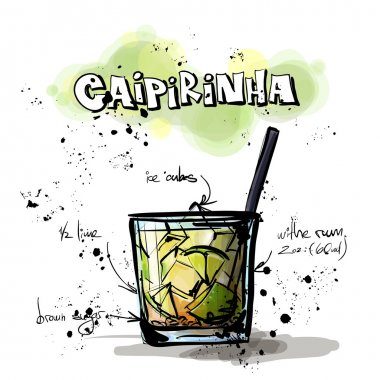 Hand drawn illustration of cocktail. GIN and TONIC.
